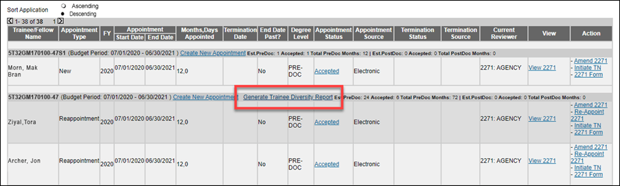 Figure 1: Generate Trainee Diversity Report in the Trainee Roster screen