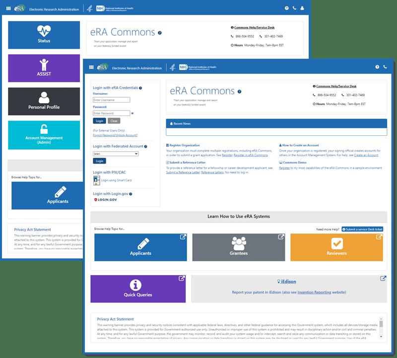 Figure 2: New eRA Commons landing and login screens