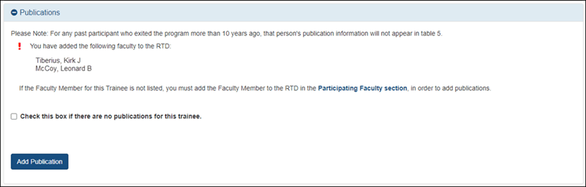 List of participating faculty for the RTD in the Publications section.